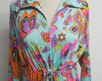 60s large Floral gown