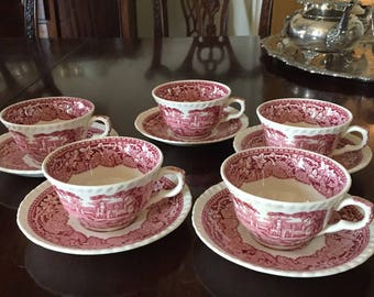 Mason's Vista Pink Cup and Saucer, Red Transferware,English Ironstone, Garden Tea Party, 5 Available, Each Sold Separately, Shabby Cottage
