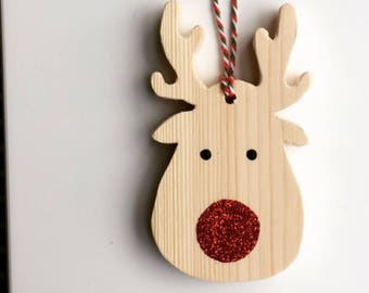 Rudolph Red Nose Reindeer Christmas tree decoration hanging ornament wooden handmade