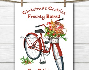 Digital Red Christmas Bike, Christmas cookies, Christmas Pillow, Cookies delivered, Printable Fabric Transfer Graphic, Christmas Crafts