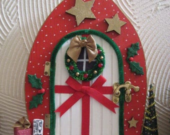 christmas decoration red polka dot elf door