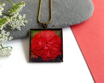 Red Rose Flower Necklace, Square Bronze Rose Pendant, Romantic Gift, Birthday Gift, Flower Lover Gift, Boho Jewellery, Photo Jewelry