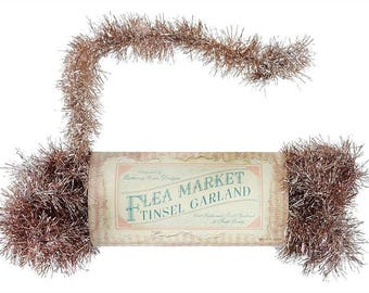 Bethany Lowe Flea Market Tinsel Garland Pink