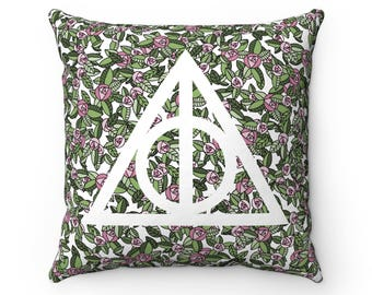 Floral Deathly Hallows Pillow