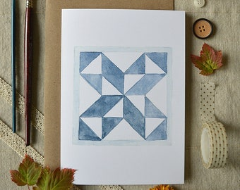 Watercolor Note Card/ Just Because Card/ Blank Greeting Card/ Friendship Card/ Fall Decor/ Quilting Art Card/ Blue Star- 5x7
