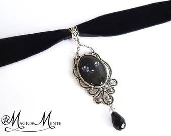 Black velvet choker with black cat pendant