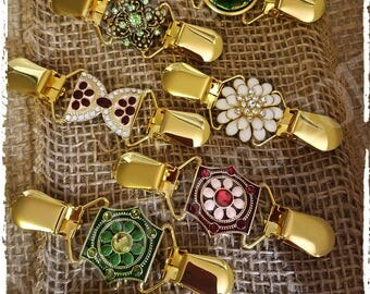 Gold Beauties Decorative Embellished Dress Cinch Clips; Dress Up your favorite Dress or oversized tops with beautiful jewelry clips
