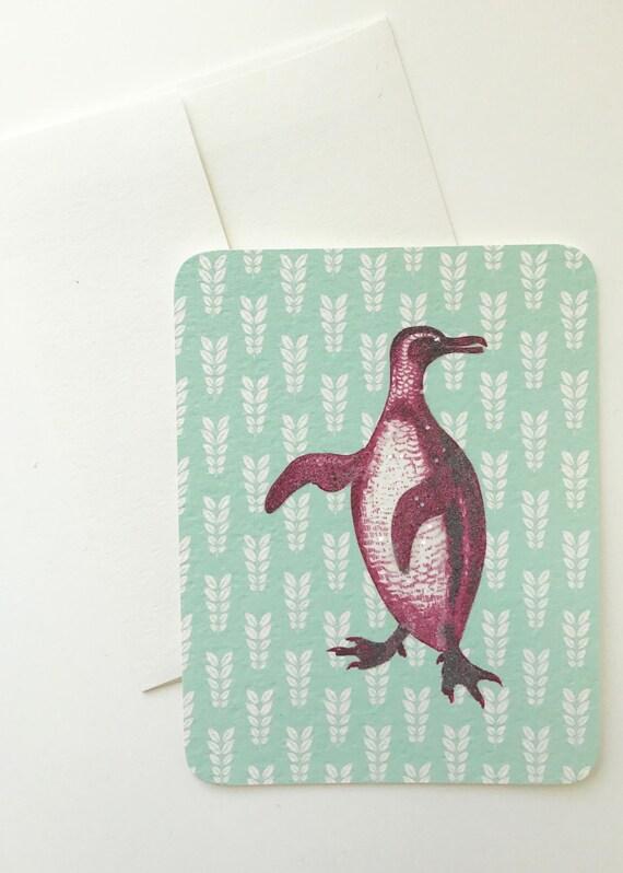 Beautiful Purple Penguin Card