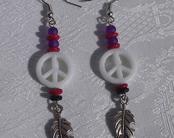 hippie earrings symbol of peace and love white leaf charm