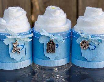 Mini Diaper Cupcakes - Baby Boy Baby Shower Favor - It's a boy Baby Shower Gift - Diaper Cake - It's a Boy - Baby Cakes - Baby Shower