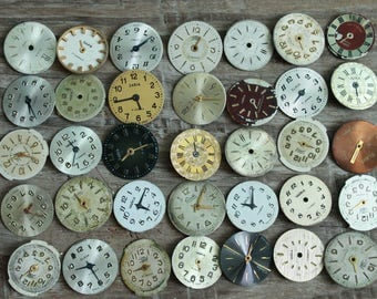 """vintage watch faces -  set of 35 (0.65""""-17 mm watch faces USSR - watches dials - supply dials - Old Vintage watch parts - steampunk supplies"""