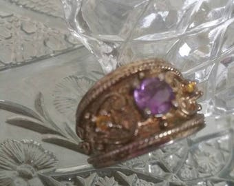 Sterling Silver 925 detailed Amethyst and Citrine Wide Band Ring SZ 7