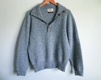 Men's Vintage Sweater Marled Blue Grey Wool Pullover Shawl Collar Brown Leather Cardigan Buttons Traverse Bay Woolens Size Medium Cozy Warm