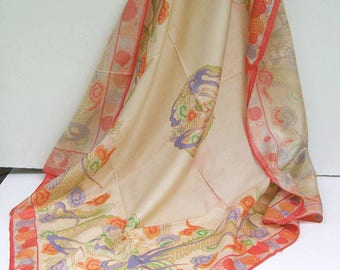 SALE - Antique Vintage Japanese Silk Pongee Women's Scarf Wrap