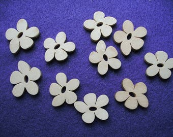 Flower, wood, 10 pieces, 2 cm (01-0001B)