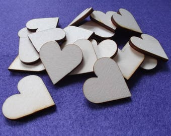 50 hearts , wood, 3x3 cm (04-0008A)