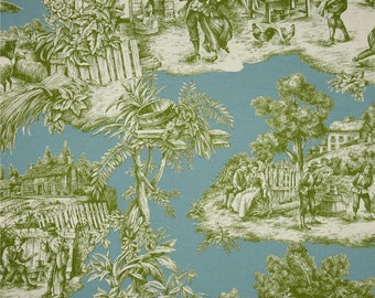 20 yds duralee ernest toile aqua green fabric by the yard toile fabric blue green