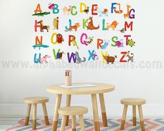 Alphabet Nursery Wall Decal - Playroom Wall Decal - Animal Wall Decal - Play Room Wall Decal - Custom Decal Wall Graphics - 01-0013