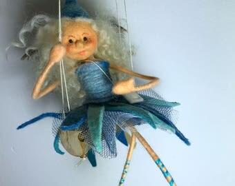 quirky little felt fairy ,felted  wool fairy,sitting fairy,purple fairy,fibre felt fairy