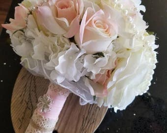 Silk and pearl bouquet-blush, white, pale green, and cream