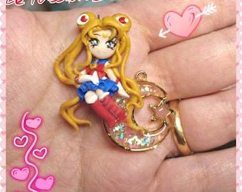 Sailor Moon Necklace handmade polymer clay