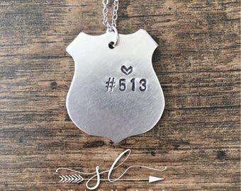 Handstamped Police Badge Necklace