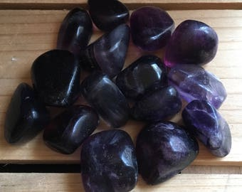Deep Purple Fluorite, Small to Medium, Healing Stone, Healing Crystal, Spiritual Stone, Meditation, Tumbled Stone, Chakra Stone