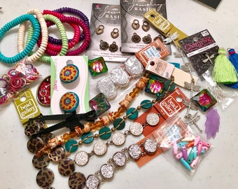 Grab bag of mixed jewelry making items