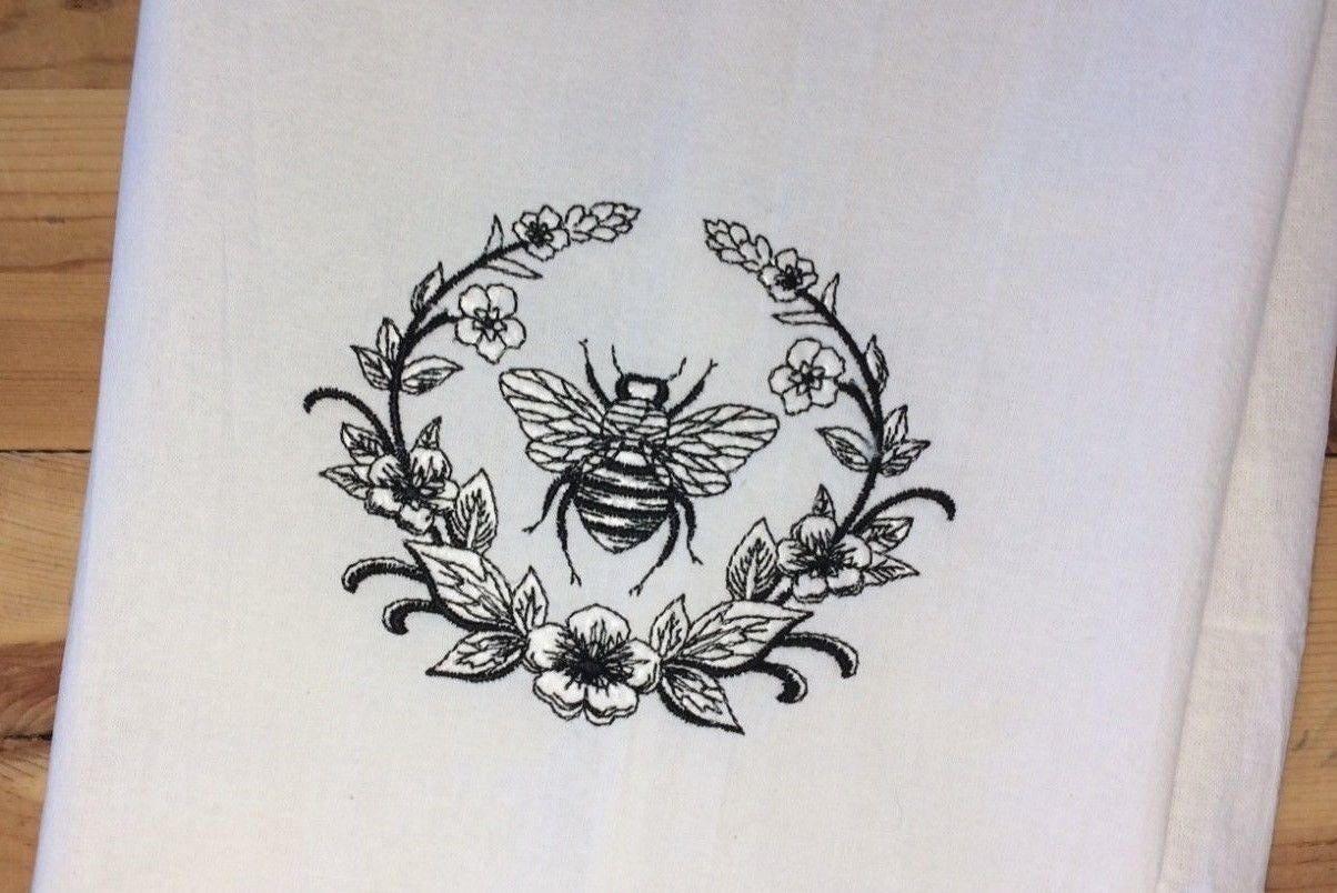 French Chic Laurel Bee Towel Embroidered Hand Bath Towels SetsShabby Paris Bathroom Decor
