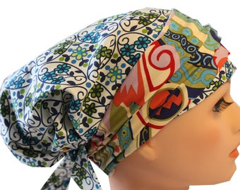 Scrub Hat Cap Chemo Bad Hair Day Hat  European BOHO Banded Pixie Tie BackBlue and Green Tiny Flowers Abstract Band 2nd Item Ships FREE