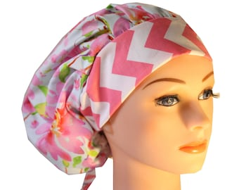 Scrub Cap Surgical Hat Chef   Dentist Hat Tie Back Bouffant Blue Pink Floral Chevron 2nd Item Ships FREE