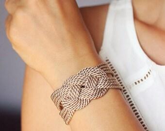 Beige Bracelet Sailor Knot Bracelet Brown Knot Bracelet Rope Bracelet Sailor Knot Rope Knot Nautical Bracelet Nautical Jewely Braided Knot