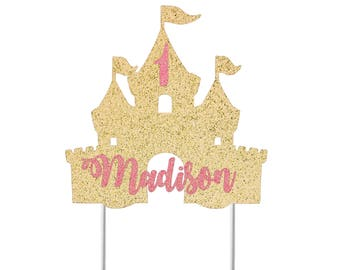 Castle Cake Topper / Custom Cake Topper / Custom Name / Personalized Cake Topper / First Birthday / Little Girl Birthday Party Decor