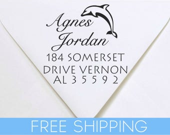 Dolphin Custom Return Address Stamp - Self Inking. Personalized rubber stamp with lines of text