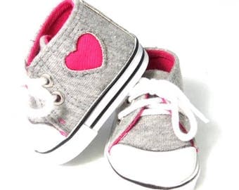 Valentine heart sneakers fit 18 inch dolls such as American Girl, Our Generation etc