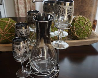 Vintage, Platinum Decanter with Six 4 Ounce Wine Glasses and Stand