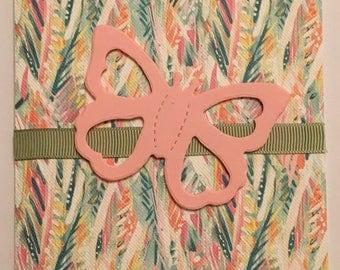 Handmade birthday card pink butterfly A6