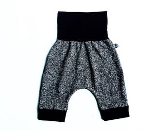 Sarouel shorts pants for child, evolutionary clothing 0-10 years old, gray and black unisex / Grow with me harem pants/shorts 0-10 years