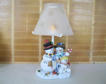Ceramic Snowman Family Lamp with Frosted Glass shade tea light candle holder good condition used