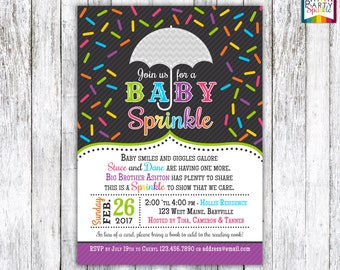 Baby Sprinkle - Bright Rainbow - Gender Neutral Personalized Baby Shower Invite - Digital Printable Invitation 4x6 or 5x7 jpg or pdf