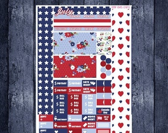 July Monthly Stickers for Personal Planner Sew Much Crafting Month View
