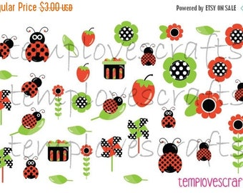 Weekend Sale LadyBug Clipart Set for ECLP, happy planner, filofax, plum paper planner, kikki k or any p