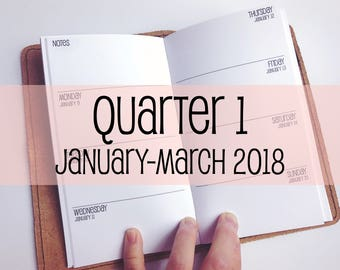 Traveler's Notebook PERSONAL Size Week on Two Pages {Q1 | January-March 2018} #700-11