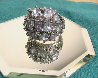Ring, Statement Bling Ring, Beautiful and Shiny Silver Statement Ring Sz 9