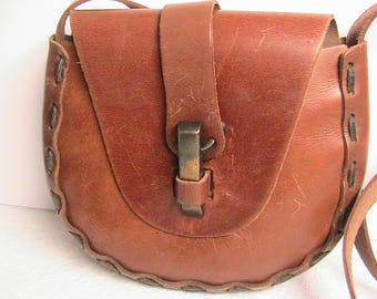 Leather Purse, Heavy Vintage Leather Purse, Saddle Bag, Vintage Leather Hand Stitched