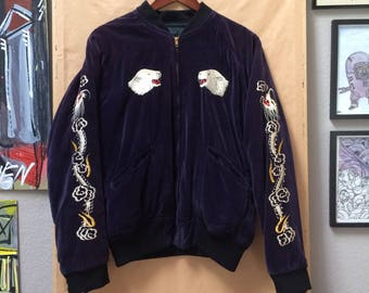 Vintage Thule Greenland Sukajan Souvenir Jacket Thule Air Force Base Top of the World 1950's 1960's 1970's Made in Japan Hand Embroidered