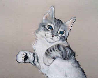 5x7 Custom Pet Portrait / Custom Cat Portrait / Colored Pencil Pet Portrait / Custom Pet Portrait Illustration