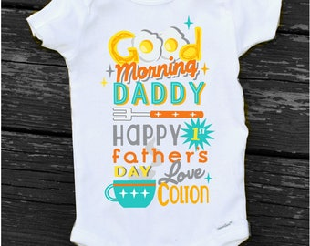Happy 1st FATHERS DAY Onesie Baby Boy Good Morning RETRO Personalized Onesie Happy Fathers Day from Baby