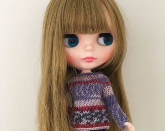 Sweater to fit Blythe Neo Dolls. Handmade, knitted with variegated yarn!