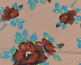 Cotton fabric printed with vintage style floral design